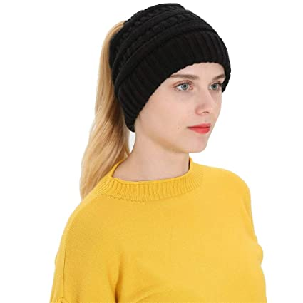 00f54baa8 Amazon.com: SUKEQ Women's Ponytail Messy Bun Beanie Tail Soft ...