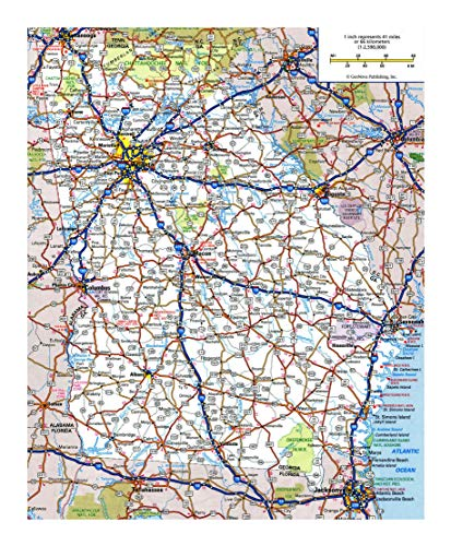 Home Comforts Laminated Map - Large Detailed Roads and Highways map of Georgia State Poster 24 x - Map Georgia