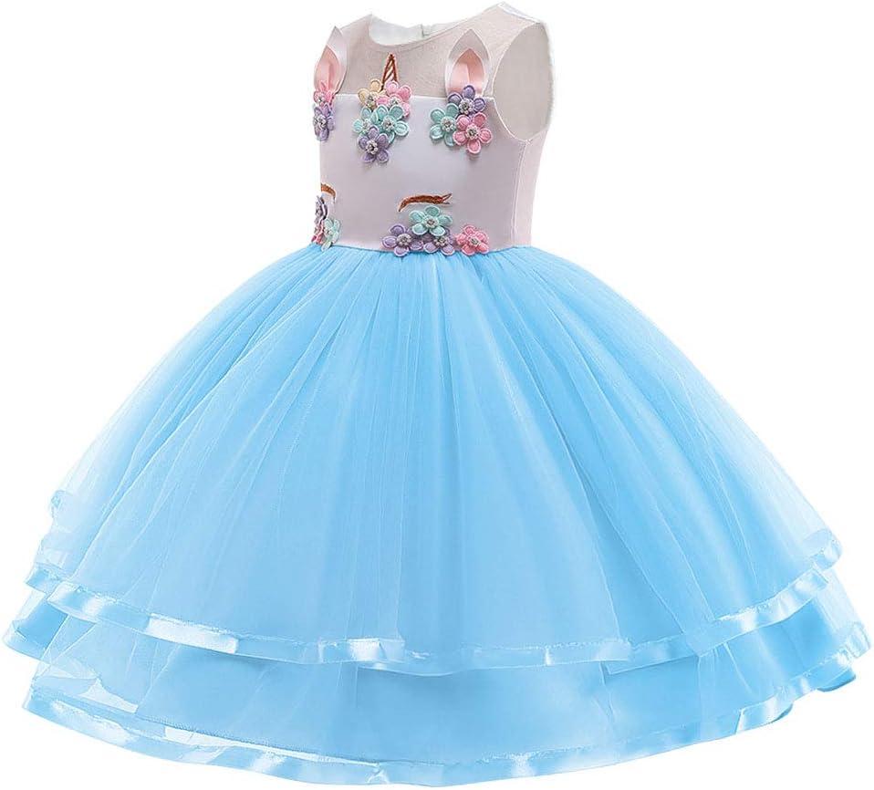 URAQT Ragazza Vestito Unicorno Ruffles Fiori Festa Cosplay Abito da Sposa Carnevale Ballo Abito Festa di Compleanno Vestito della Principessa per Bambine,130CM