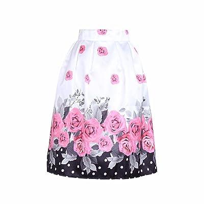 Anshinto Summer Women Casual Women Rose Flower Digital Printing High Waist Skirt Pleated Skirt