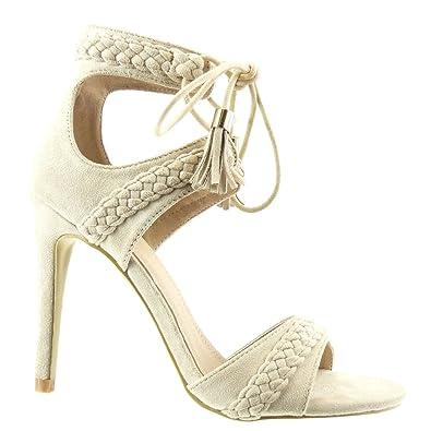 Angkorly Damen Schuhe Sandalen Pumpe - Stiletto - Offen - Geflochten - Bommel - Fransen Stiletto High Heel 11 cm - Schwarz C-247 T 38 nMuXKTmWiQ