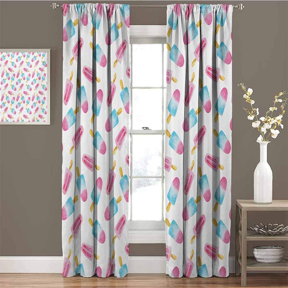 zojihouse Ice Cream Pattern with Refreshing Watercolor Popsicles on White Background Backout Drapes Pale Blue Pink Earth Yellow Backout Curtains for Baby Bedroom W84xL70 by zojihouse