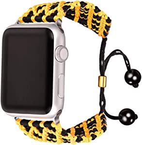 Bandmax Compatible with Nylon Apple Watch Yellow&Black Bands 38MM/40MM Compatible with iWatch Series 6/5/4/3/2/1 Wristband Accessories Straps Braided Rope Bracelet with Metal Drawstring Clasp