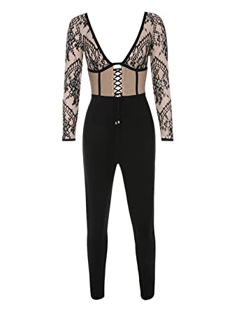 7f2dd5cd560 UONBOX Women s Sexy Long Sleeves Deep V Neck One Piece Lace Bandage Jumpsuit  Rompers Black M