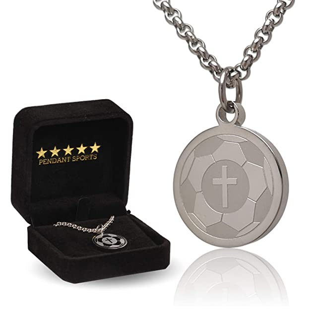Pendant Sports Soccer Prayer Necklace Crafted in Stainless Steel with Luke 1:37 on The Back, and Nicely Presented in a Black Velvet Jewelry Box.