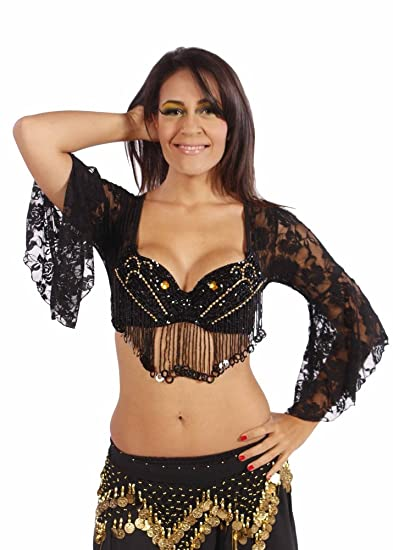 Miss de encaje Tribal para danza del vientre Danza del Vientre sujetador deportivo en la parte