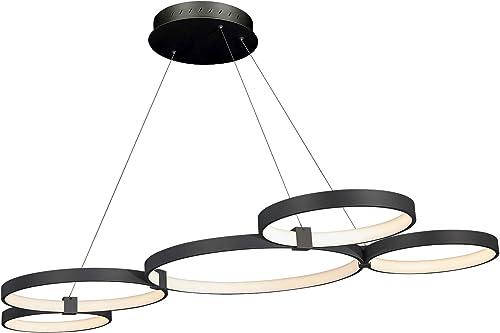 VONN VMC32410BL Capella 55 , Multi-Ring Adjustable Hanging, Modern Chandelier Lighting in Black Integrated LED, 50 L x 31.5 W x 120 9.75 H,