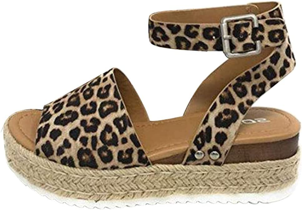 Zlolia Womens Leopard Wedge Roman Sandals Heeled Adjustable Ankle Strap Woven Sole Platform Sandals