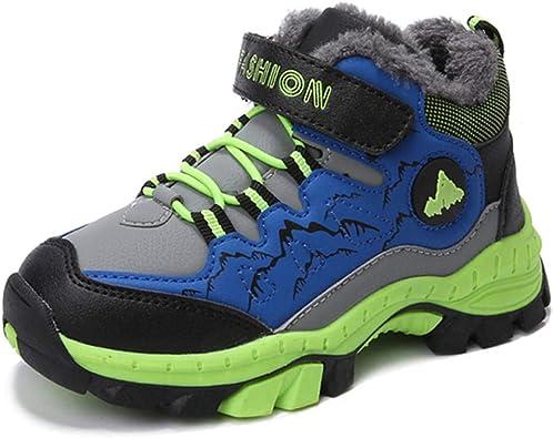 Botas de Senderismo Niños Invierno Zapatillas de Trekking Nieve Forrado de Piel Cálido Botas de Montaña Al Aire Libre Negro Verde Azul 30-40: Amazon.es: Zapatos y complementos