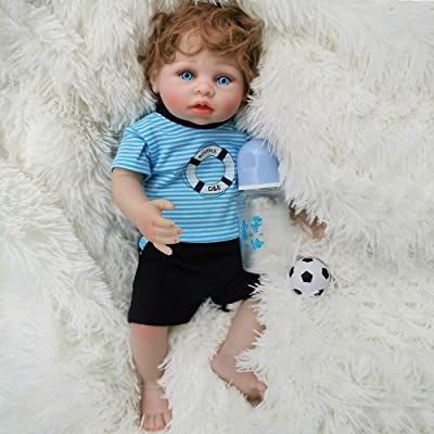 Wamdoll 18 Inch Rare Alive Reborn Baby Boy Doll Small Swimming Laps Vinyl Like Silicone Full Body: Toys & Games