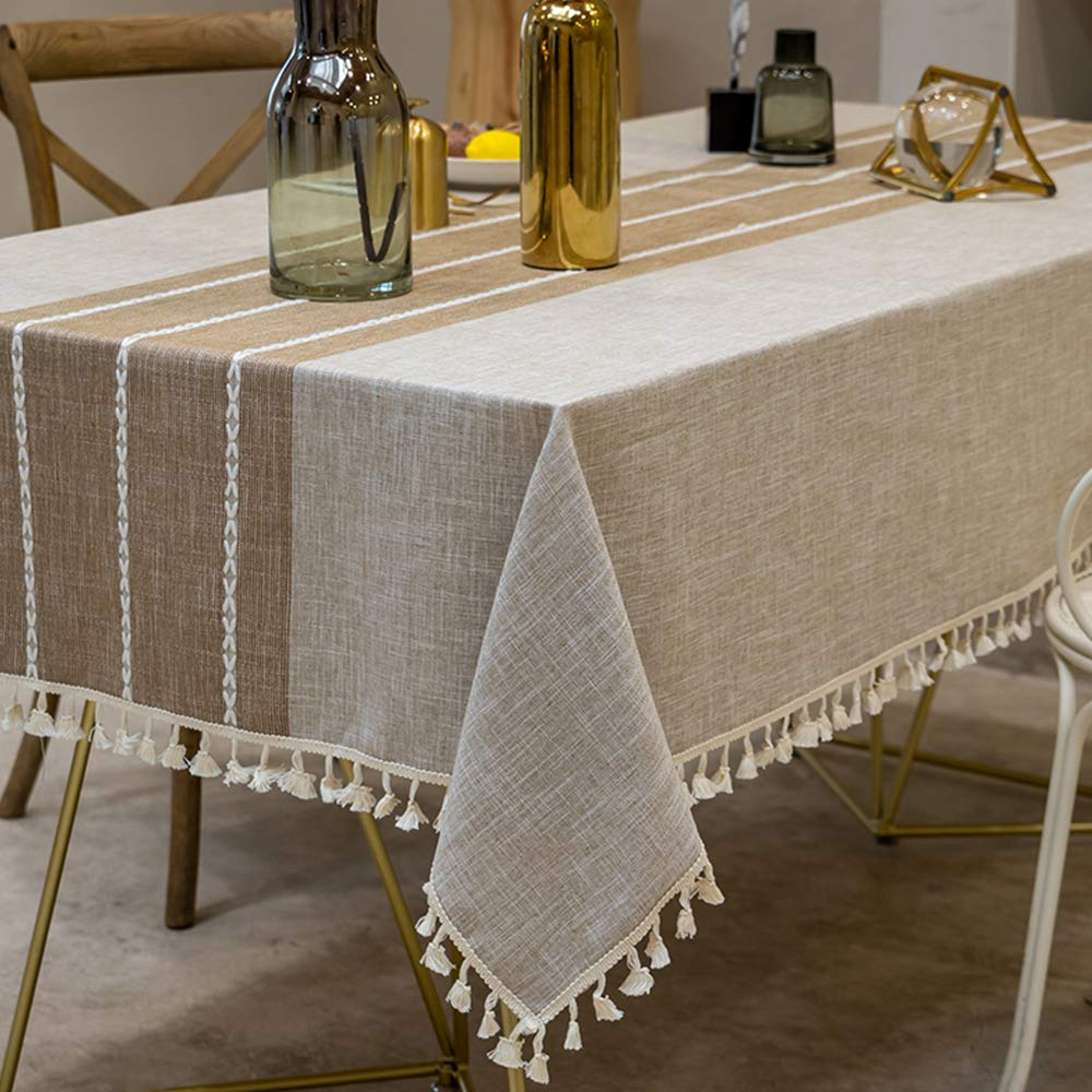 TEWENE Table Cloth, Wrinkle Free Stitching Tassel Tablecloth Cotton Linen Round Table Cloths Washable Tablecloths for Round Tables for Dining Kitchen (Round/55 inch/Light Coffe)