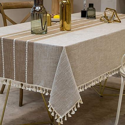 Amazon.com: TEWENE Mantel rectangular de mesa de algodón y ...