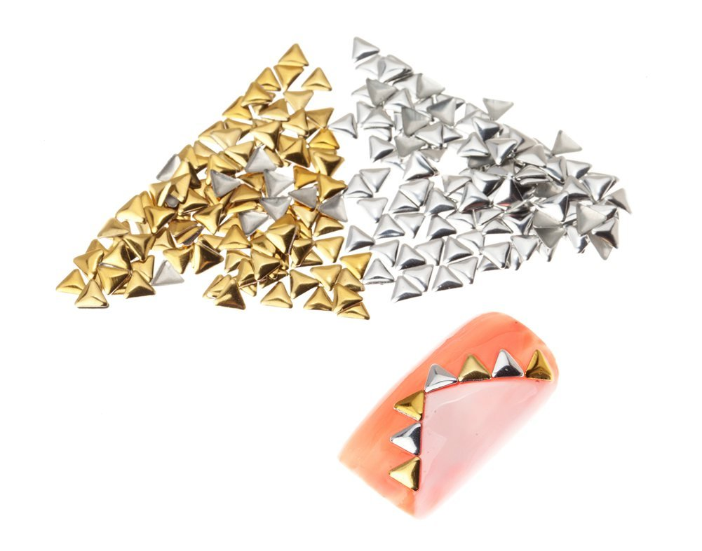 Premium Quality Set of 250 5mm Gold And Silver Triangle Metal Studs Manicure Nail Art Decorations By VAGA