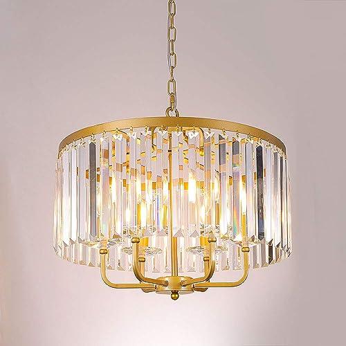 Wellmet 6 Lights Gold Crystal Chandelier