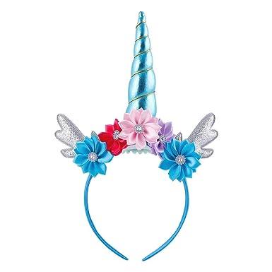 SZTARA Women Unicorn Headband Halloween Party Hairhoop Ears Flower Hairband 9f102e5f4d5