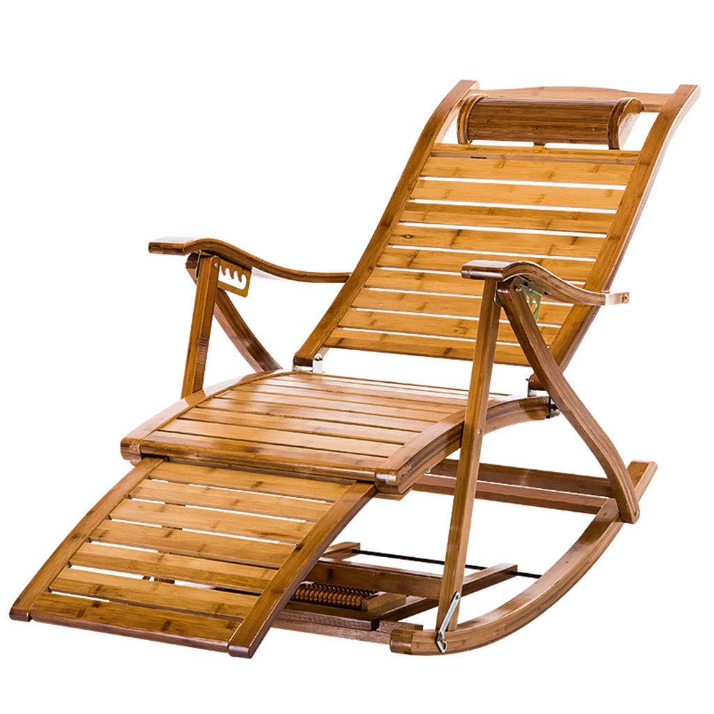 Chairs Sofas Adult Folding Rocking Chair Household Lunch Break Leisure Chair Elderly Courtyard Chair Lazy Chair Folding Lounge Chair (Color : Wood Color, Size : 60cm*40cm*74cm) Li Na Home