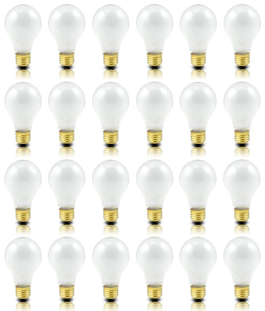 (Pack of 24) Incandescent 60 Watt A19 Light Bulb: Frosted Standard Household E26 Medium Base Rough Service Light Bulbs