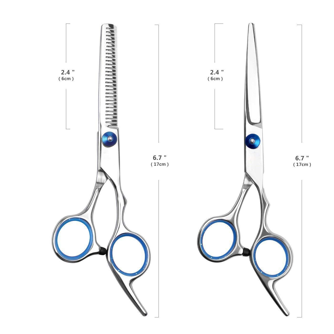Hair Cutting Scissors Shears and Barber Thinning Salon Razor Edge Tools Set Mustache Scissors with Fine Adjustment Screw Japanese Stainless Steel Kit-by Mxcudu (Sliver)