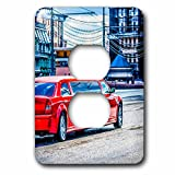 3dRose Alexis Photography - Transport Road - Luxury red limousine car drives along the street - Light Switch Covers - 2 plug outlet cover (lsp_271309_6)