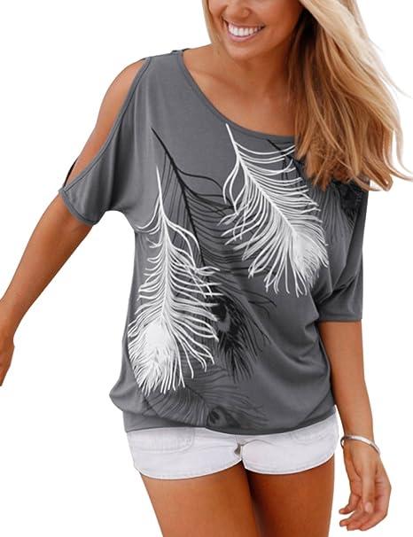 Yidarton Sommer Frauen Bluse weg von der Schulter Short Sleeve Feder Druck  Muster Jumper Tops Pullover
