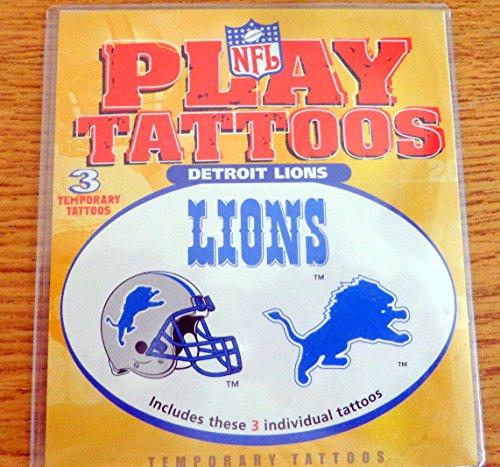 NFL Body Sport Detroit Lions Football Package of 3 Temporary Play Tattoos Circa 2000 NIP