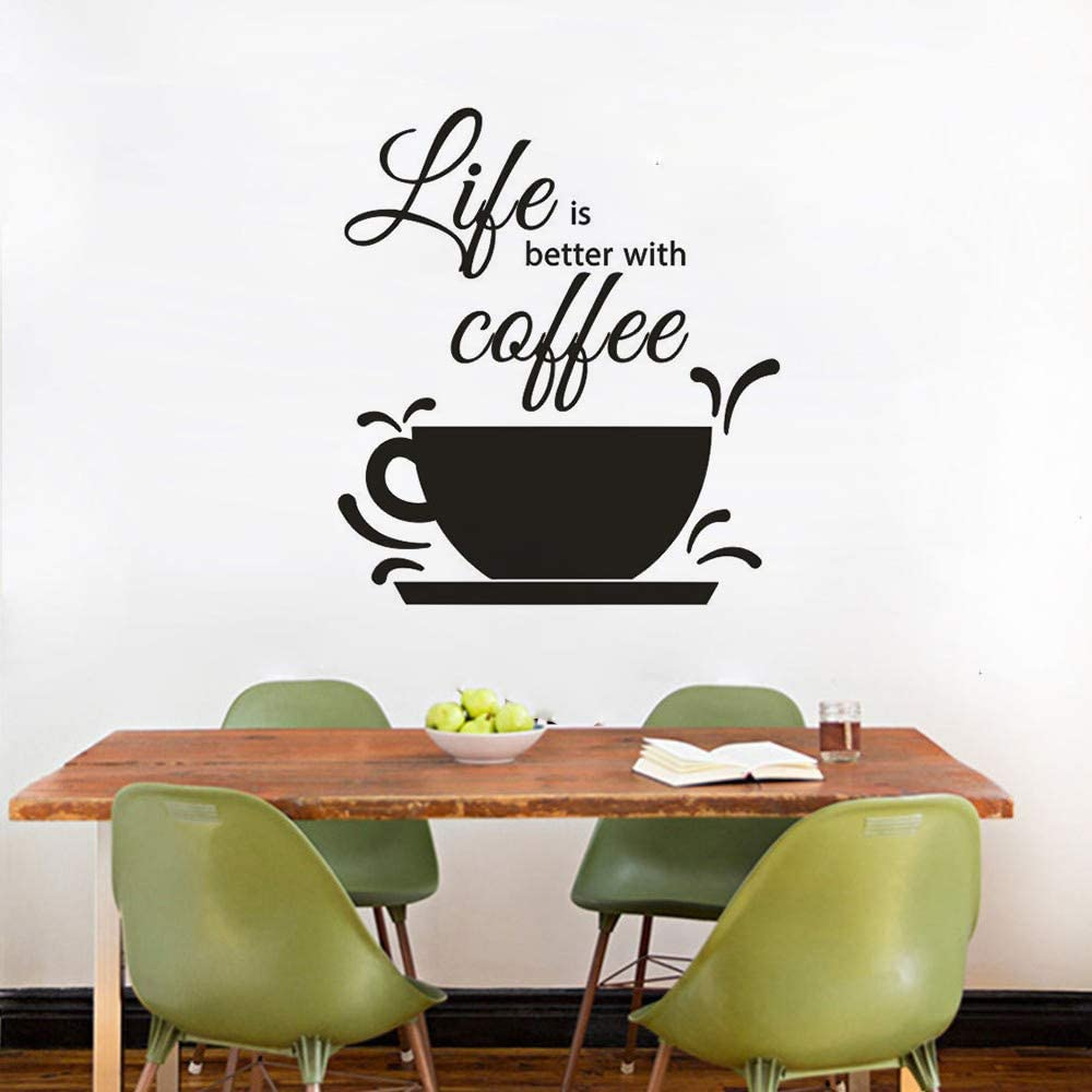 Coffee Design Wall Decal Cafe Shop Decoration Coffee Text Wall Window Sticker Life Is Better with Coffee Quote Wall Mural Black 57x64cm: Amazon.es: Hogar