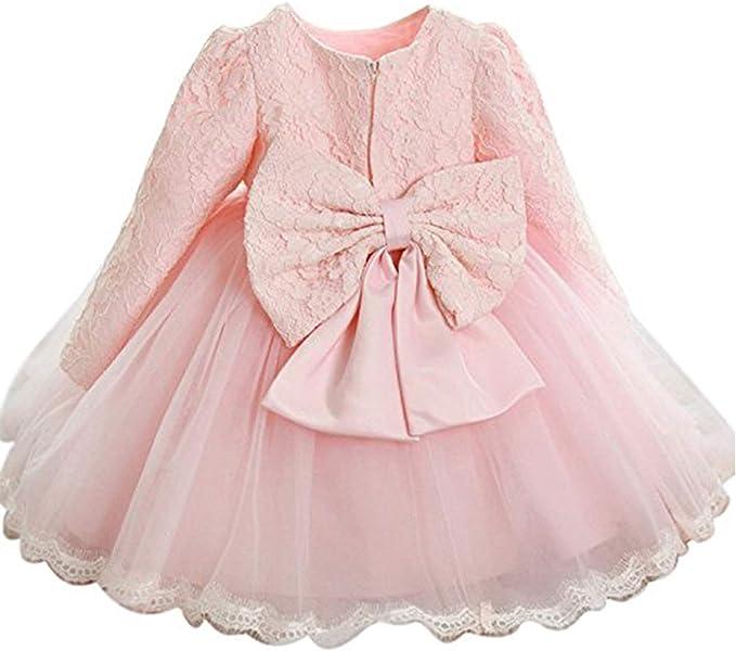 Toddler Baby Girls Bowknot Lace Long Sleeve Princess Elegant Tutu Dress Clothes