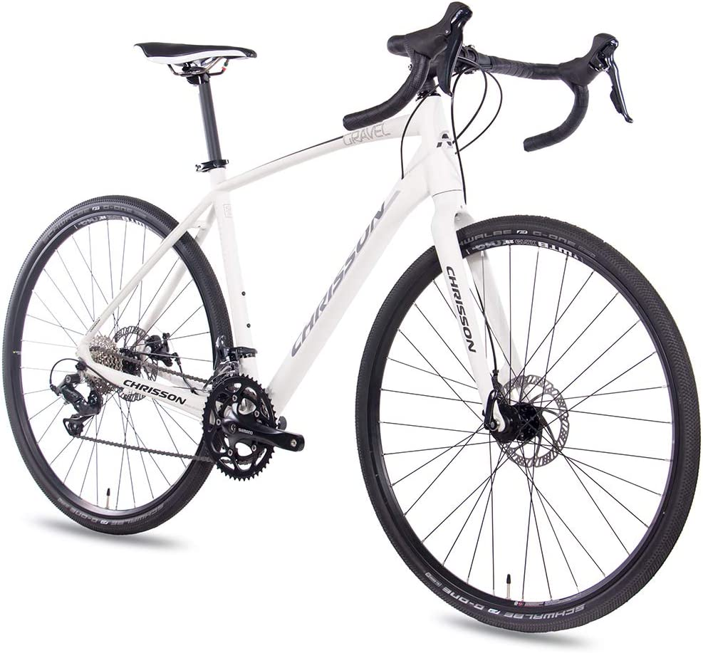 CHRISSON Gravel Bike Road One - Bicicleta de cross con 18 velocidades Shimano Sora, para hombre y mujer, tamaño 56 cm, tamaño de rueda 28.00: Amazon.es: Deportes y aire libre