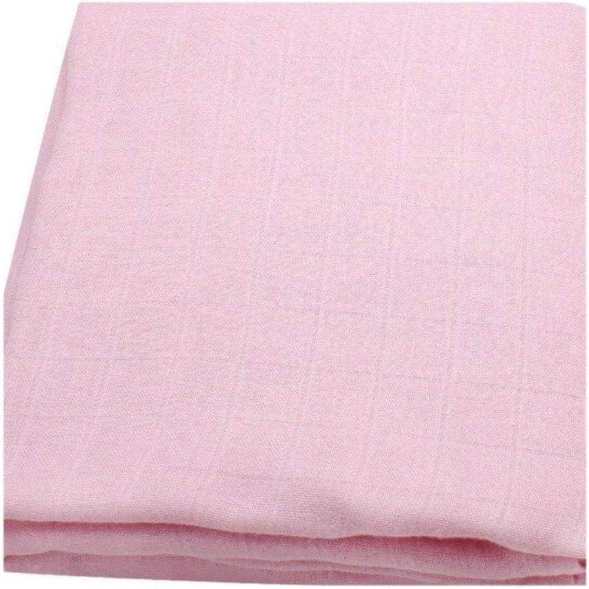 120 mantas de bebé recién nacido de gasa de algodón orgánico sólido para recién nacido, manta de bambú para bebé de muselina rosa claro Talla:120x120cm
