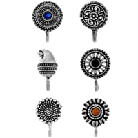 Anuradha Art Silver Finish Designer Classy Press On Combo Pack Nose Ring/Nose Stud/Pin for Women/Girls