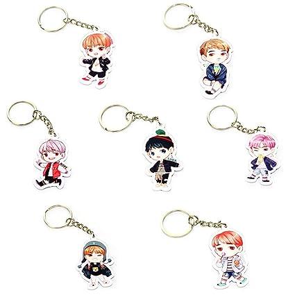 Cute Cartoon Kpop BTS Bangtan niños llavero clave Anillo ...