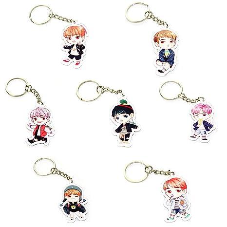 Cute Cartoon Kpop BTS Bangtan Boys Keychain Key Ring Hot Gift for ARMY,  7Pcs/Set (H01)