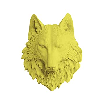 Amazon.com: Wall Charmers Wolf in Yellow - Faux Taxidermy Mounted ...