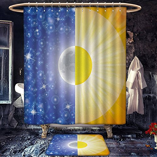 Space mildew free Shower curtain with bath mat Split Design with Stars in the Sky and Sun Beams Solar Balance Nature Image Print Fabric Bathroom Decor Set with Hooks Blue Yellow by homecoco