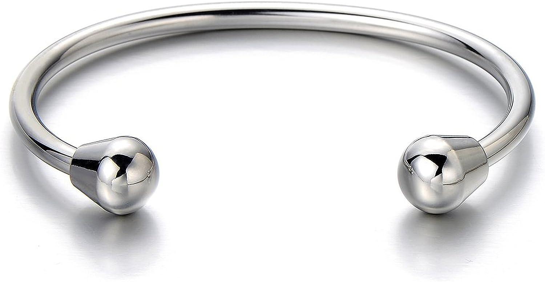 Bracelet Manchette en Acier Inoxydable pour Hommes Femme Couleur Argent Poli R/églable COOLSTEELANDBEYOND Classique