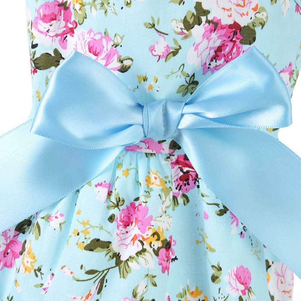 Sukisuki Vestiti del Vestito dal Costume del Cane del Gatto del Vestito da Animale del Cotone Stampato Primavera Estate del Fiore Blue M