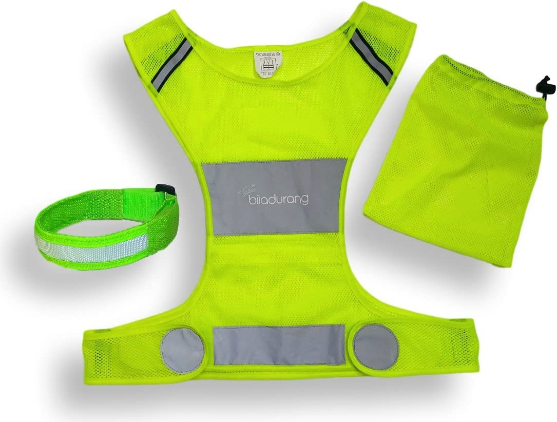 Ultra Light Reflective Running Vest for Running or Cycling High Visibility Safety Vest - Adjustable Lightweight Gear with storage Pocket - Including Reflective Band - Gear for jogging, Biking, Walking