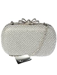 kilofly Bow Snap Clutch Handbag Purse Hard Case, Rhinestone Crystal + Money Clip