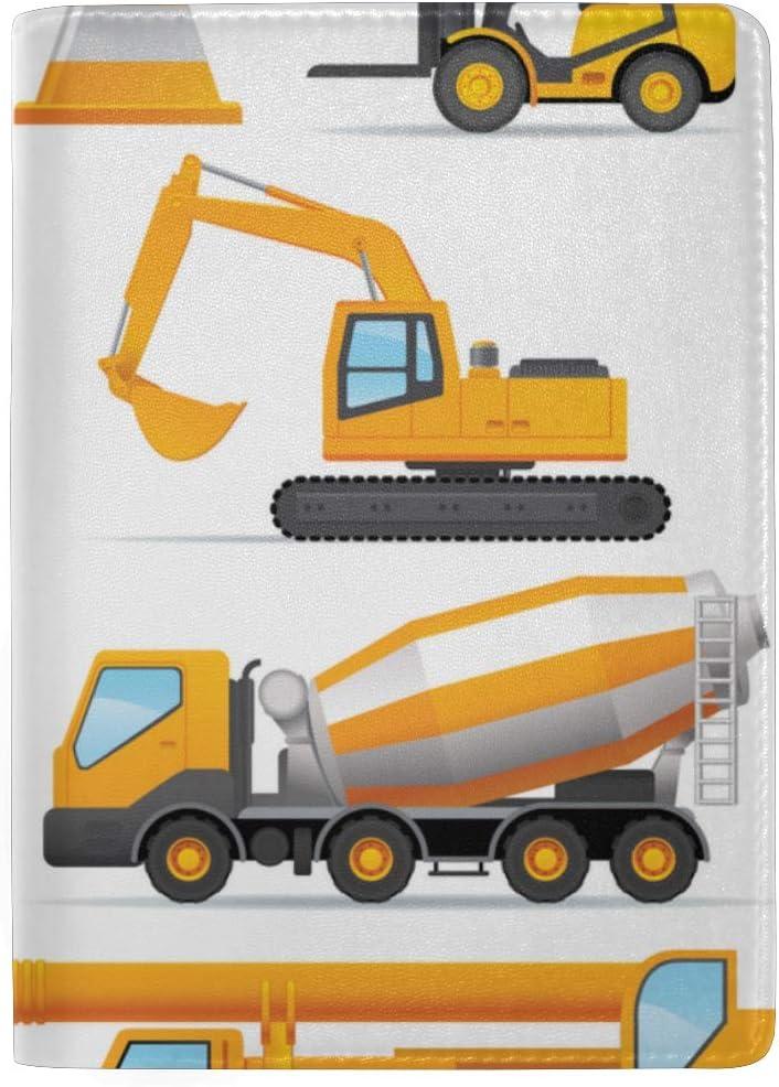 Crane Excavator Truck Blocking Print Passport Holder Cover Case Travel Luggage Passport Wallet Card Holder Made With Leather For Men Women Kids Family Forklift Bulldozer Tractor