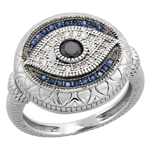 Art Deco Style Sterling Silver Evil Eye Ring w/ Synthetic Blue Sapphires & CZ stones 5/8 inch, size 8