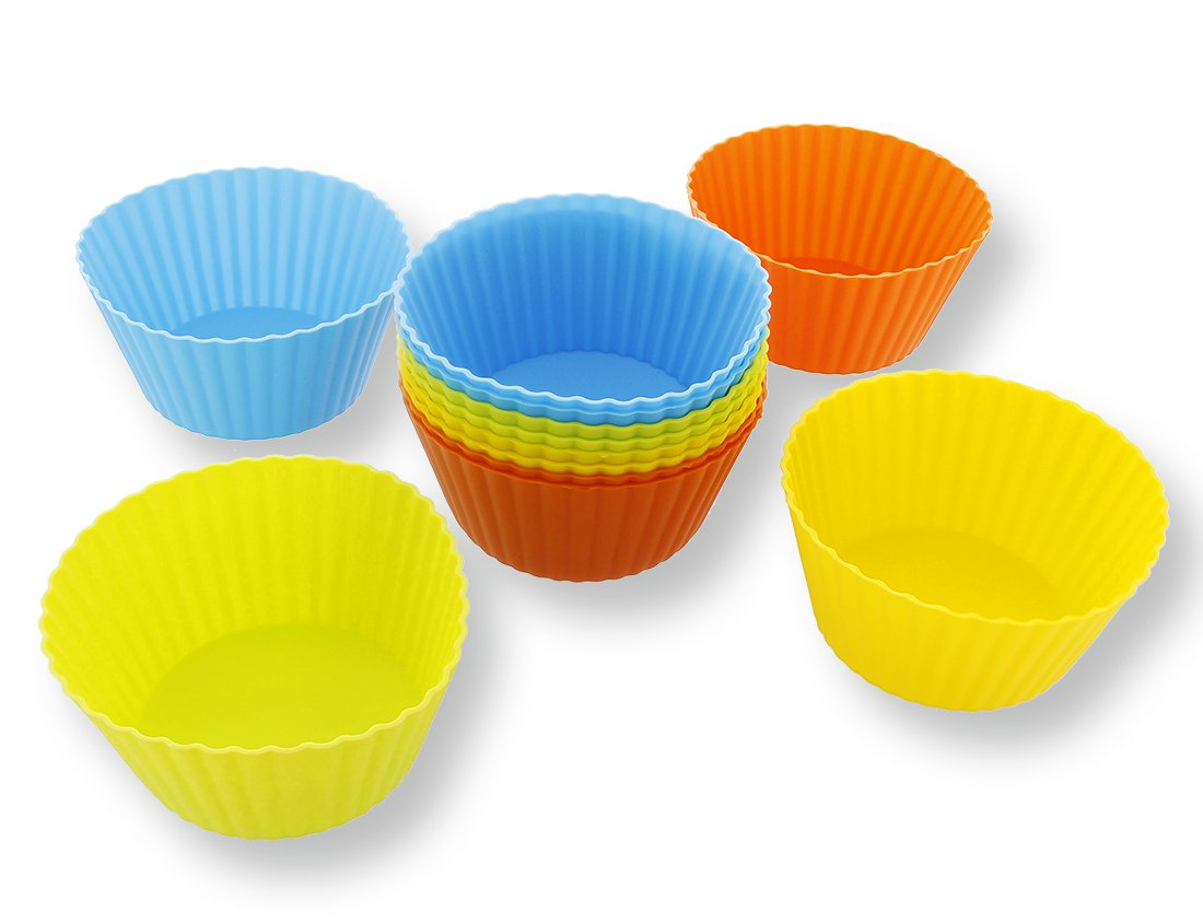 Silicone Cupcake Liners - 12-Pack Reusable Assorted Baking Cups 4-inches Juvale SYNCHKG053983