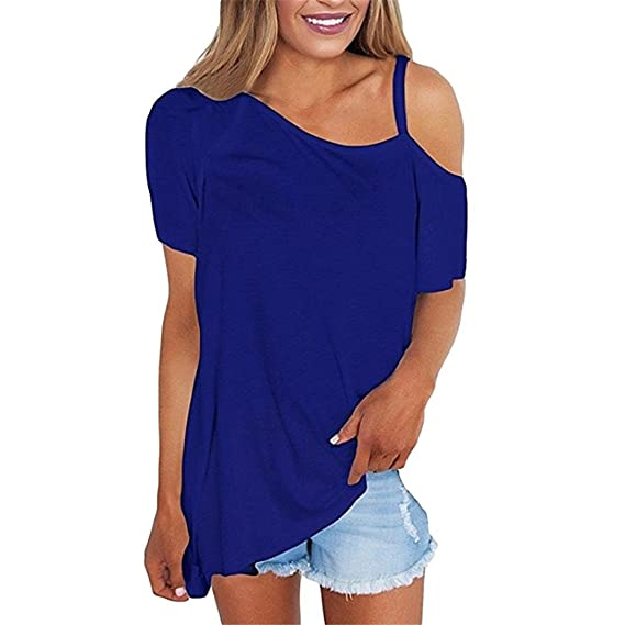 LMMVP❤ Blusa Mujer,Las Mujeres de Hombro Frío Manga Corta Camisas asimétricas Dobladillo