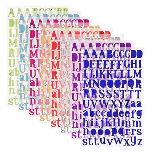 Sunmns Colorful Shiny Letter Gift Alphabet Sticker Self Adhesive Letters, 8 Sheets