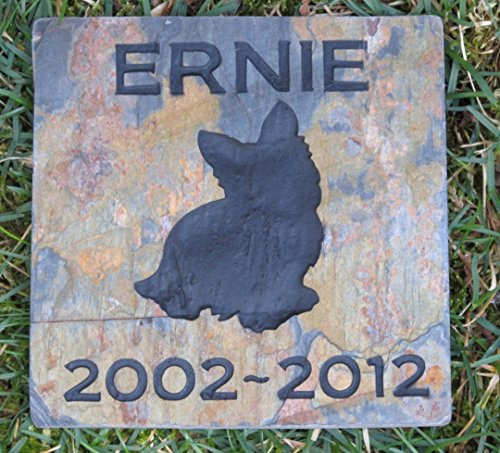 Yorkie Pet Memorial Stone, Dog Gravestone, Garden Memorial 6 x 6 Slate, All Breeds Available (Pet Memorial Breed)