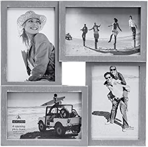 Malden International Designs Puzzle Wall Collages Berkshire Graywash Dimensional Wall Collage Picture Frame, 4 Option, 4-4x6, Gray