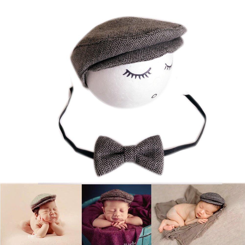 BINLUNNU Newborn Baby Photography Photo Props Boy Girl Costume Outfits Hat Tie Set (Grey)