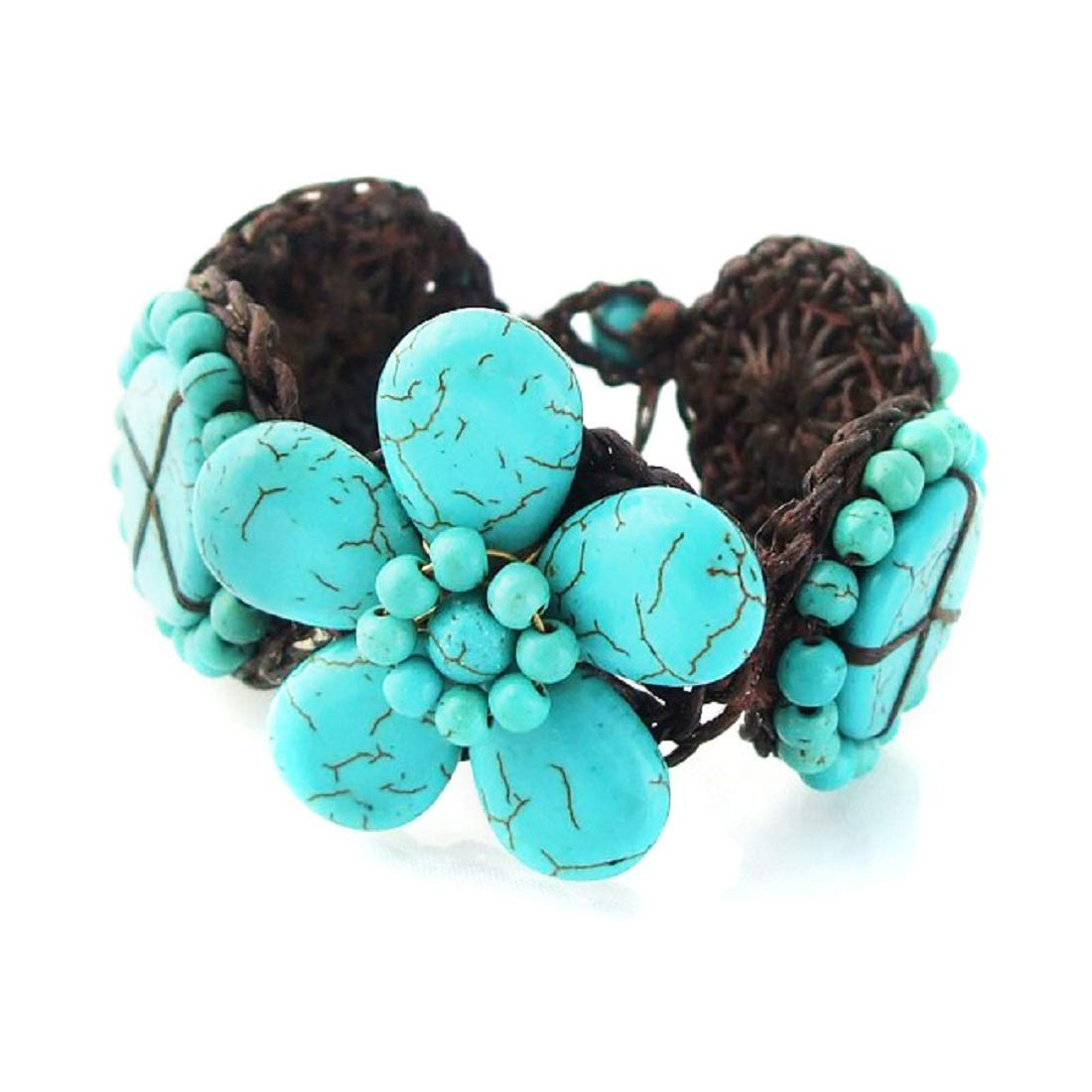 AeraVida Blue Blossom Simulated Turquoise Floral Cotton Wax Rope Link Bracelet