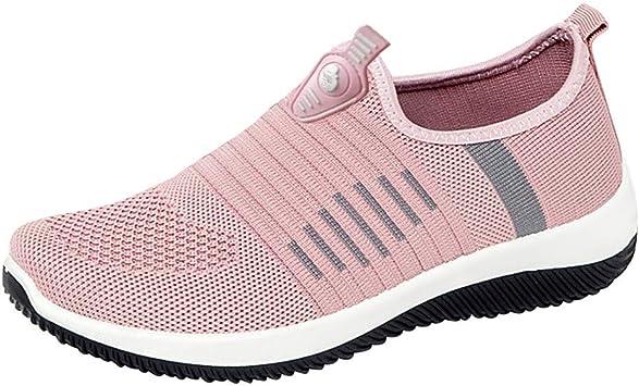 Zapatillas de Deporte Mujer sin Cordones Running Zapatos Gimnasia Entrenamiento Sneakers Transpirables SportRosadoEU38: Amazon.es: Bebé