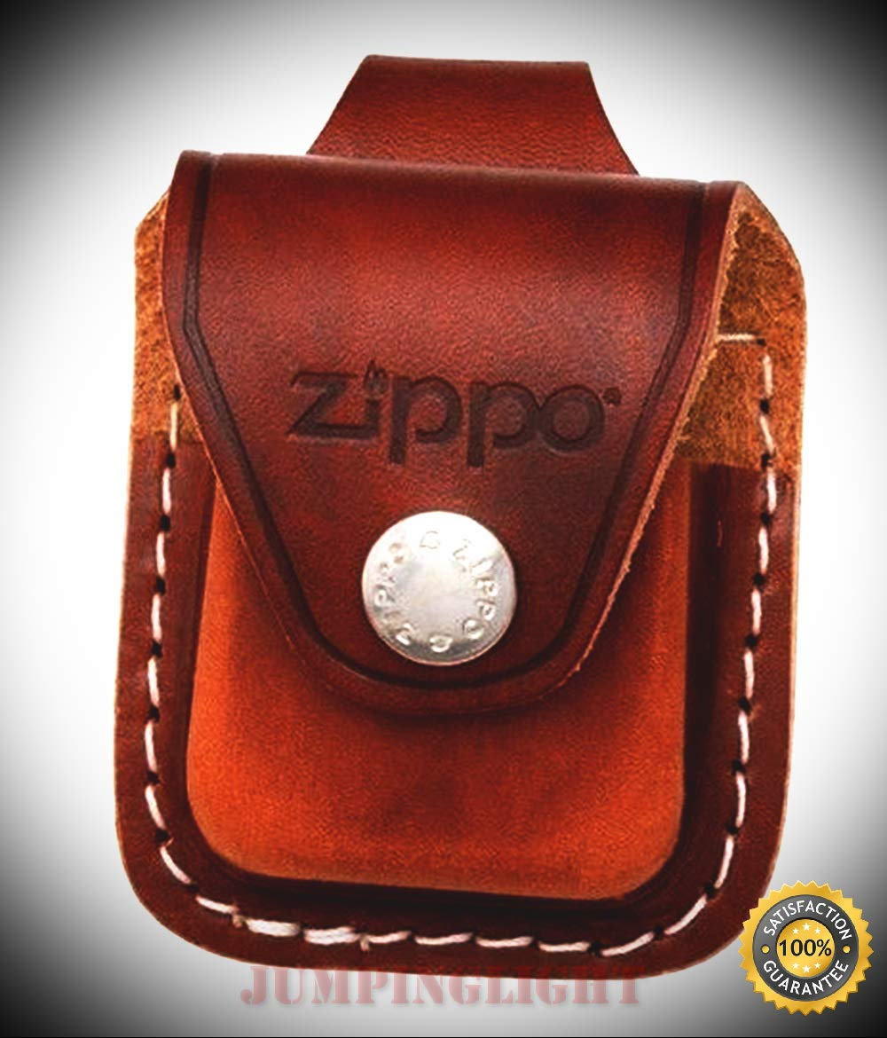 ZO17040 Lighter Lighter Pouch Brown Leather Attaches to Belt Loop These - Premium Lighter Fluid (Comes Unfilled) - Made in USA!