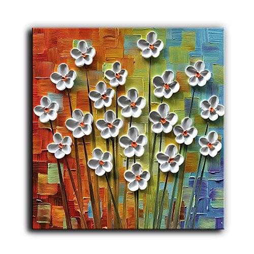 Kate Art Paintings 3D White Floral 100% Hand-Painted Oil Painting on Canvas Abstract Artwork Wall Art Home Decorations Stretched Framed Ready to Hang 24x24 inch